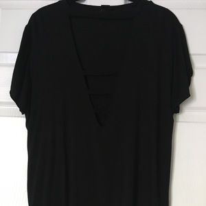 Tops - Black t-shirt with chest slit cut outs. L